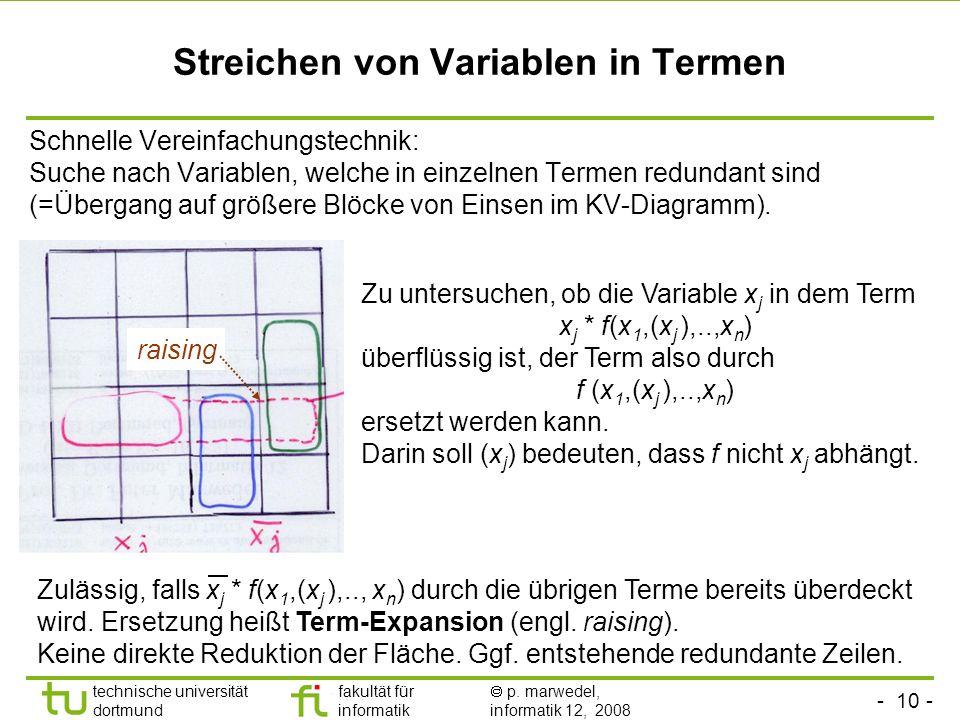 Streichen von Variablen in Termen