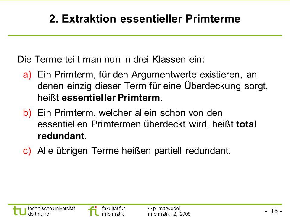 2. Extraktion essentieller Primterme