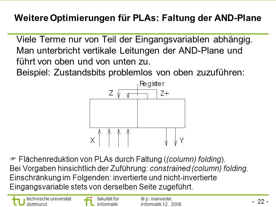 Weitere Optimierungen für PLAs: Faltung der AND-Plane