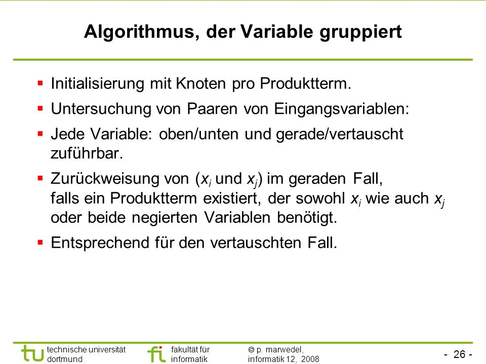Algorithmus, der Variable gruppiert