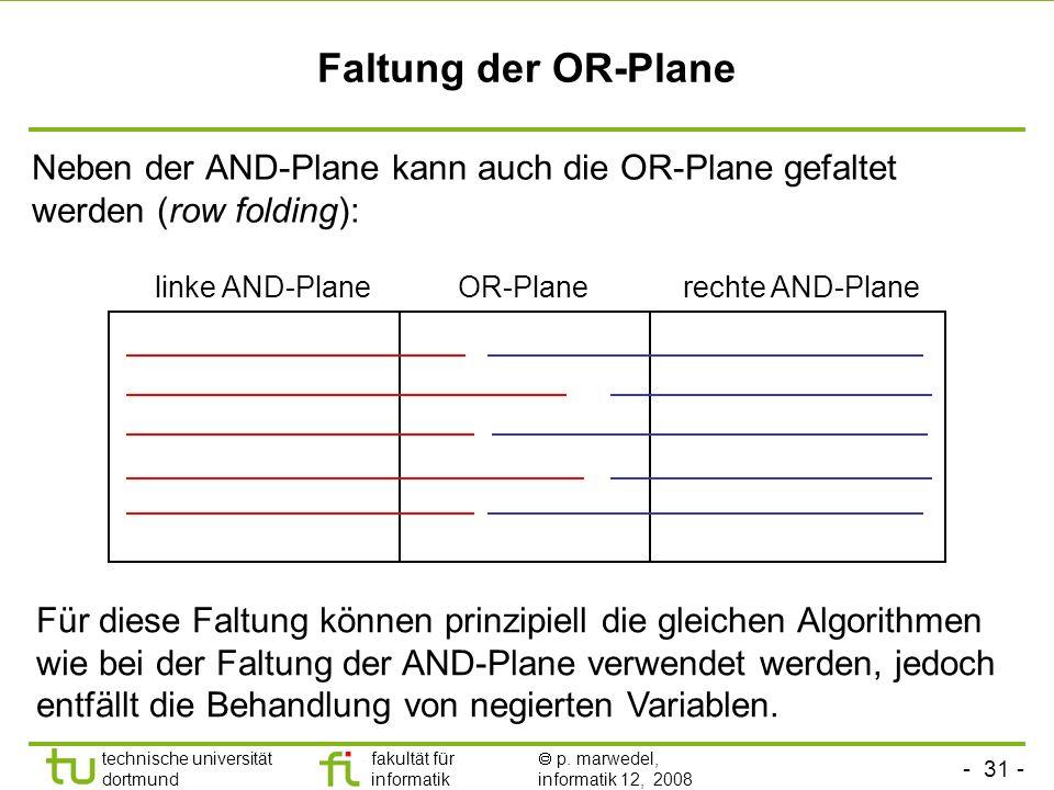 Faltung der OR-Plane Neben der AND-Plane kann auch die OR-Plane gefaltet werden (row folding): linke AND-Plane.