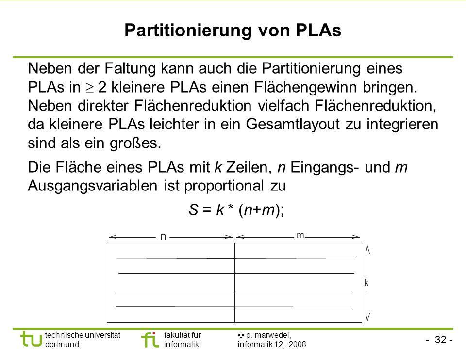 Partitionierung von PLAs