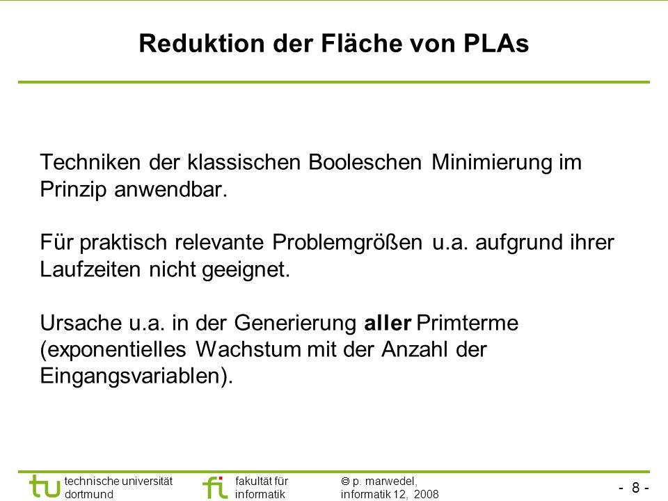 Reduktion der Fläche von PLAs