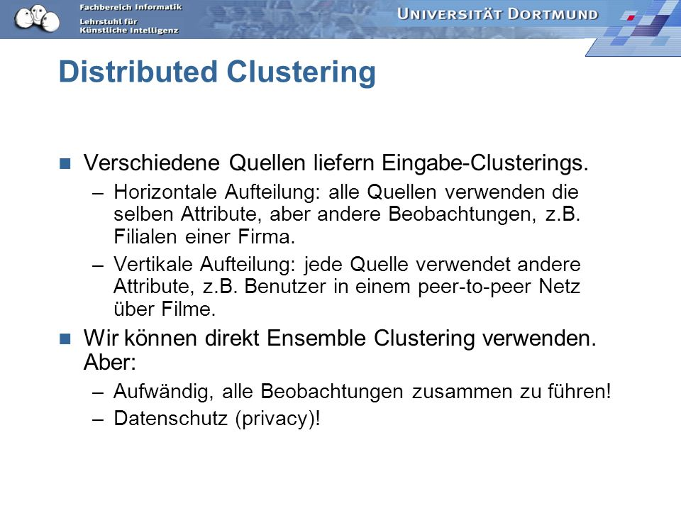 Distributed Clustering