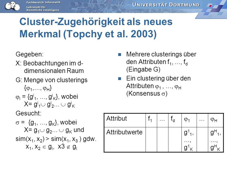 Cluster-Zugehörigkeit als neues Merkmal (Topchy et al. 2003)