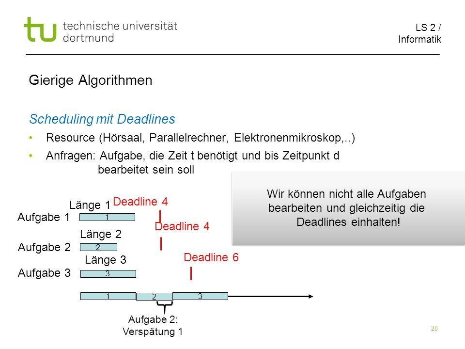 Gierige Algorithmen Scheduling mit Deadlines