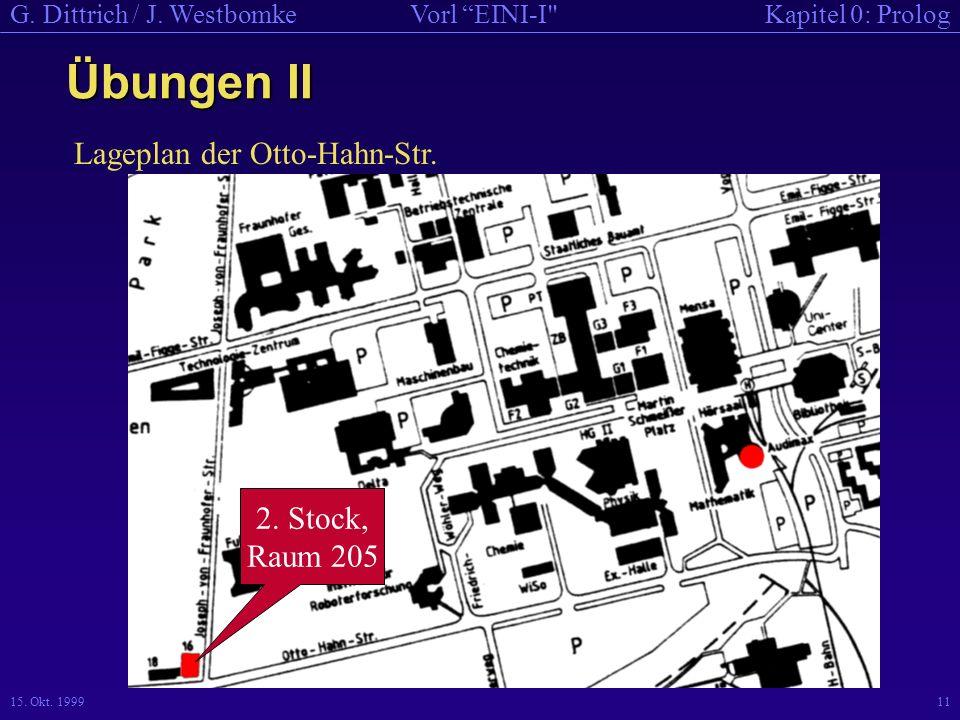 Übungen II Lageplan der Otto-Hahn-Str. 2. Stock, Raum 205