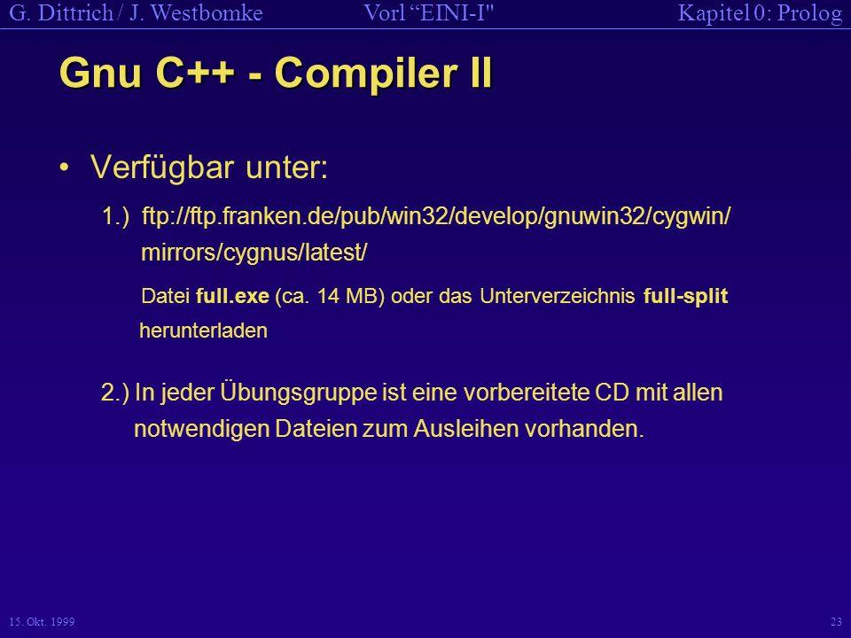 Gnu C++ - Compiler II Verfügbar unter: