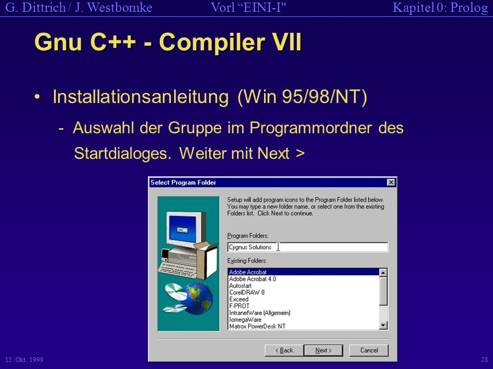 Gnu C++ - Compiler VII Installationsanleitung (Win 95/98/NT)