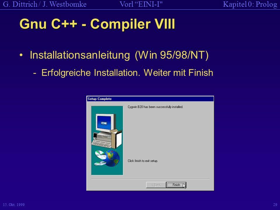 Gnu C++ - Compiler VIII Installationsanleitung (Win 95/98/NT)