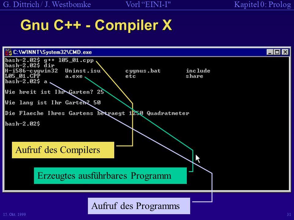 Gnu C++ - Compiler X Aufruf des Compilers