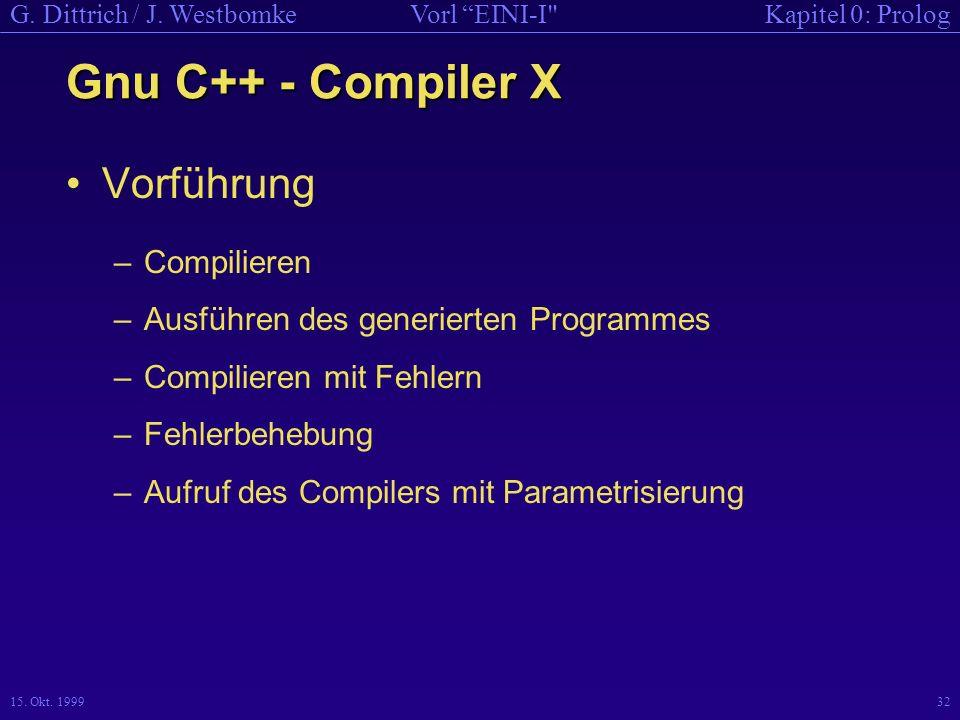 Gnu C++ - Compiler X Vorführung Compilieren