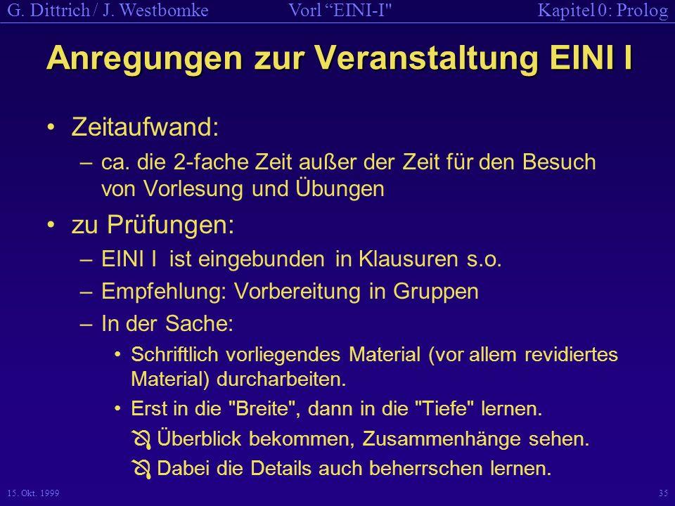 Anregungen zur Veranstaltung EINI I