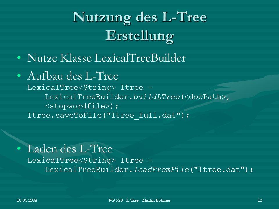 Nutzung des L-Tree Erstellung