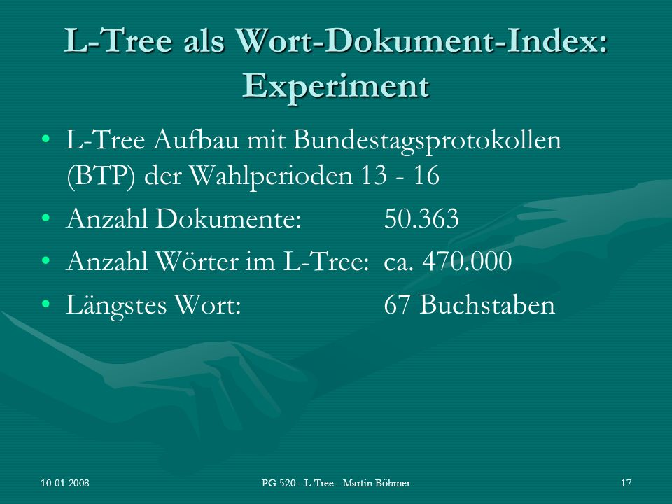 L-Tree als Wort-Dokument-Index: Experiment