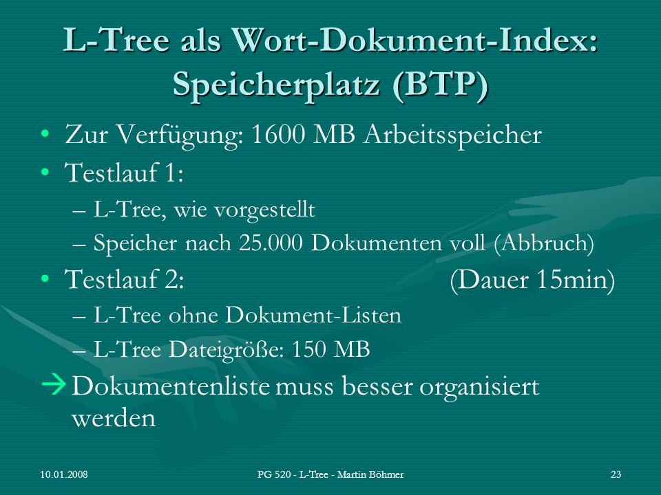 L-Tree als Wort-Dokument-Index: Speicherplatz (BTP)