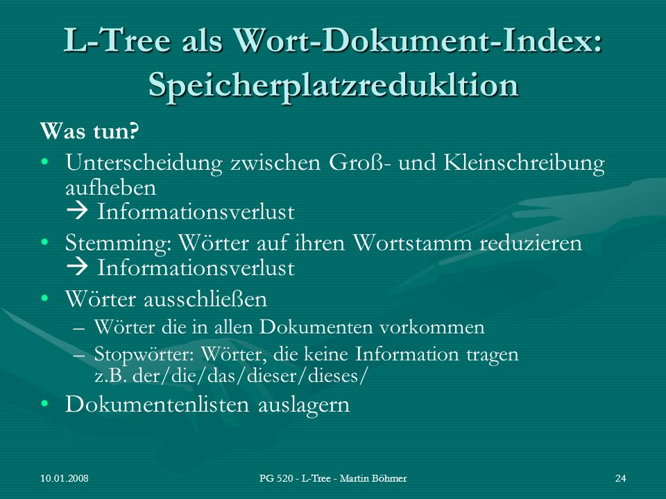 L-Tree als Wort-Dokument-Index: Speicherplatzredukltion