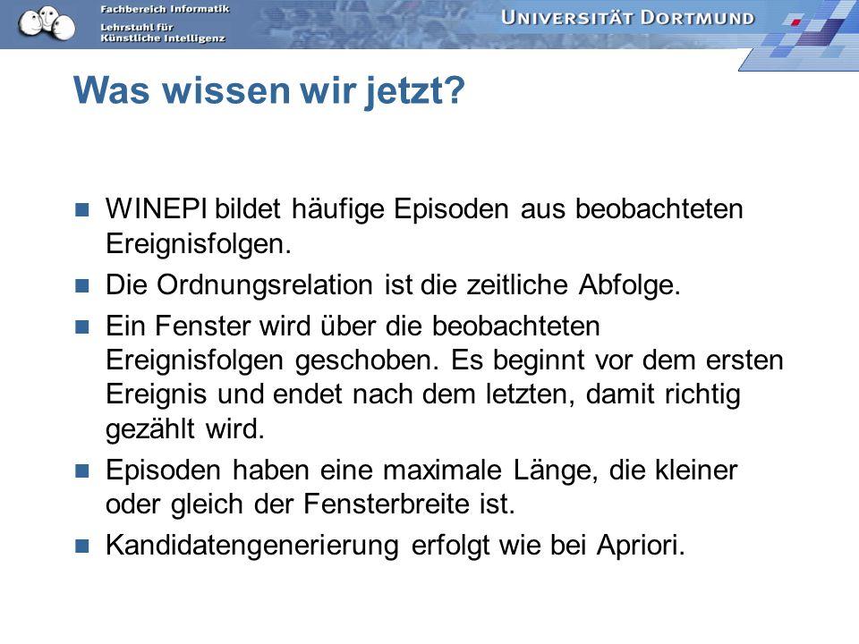 Was wissen wir jetzt WINEPI bildet häufige Episoden aus beobachteten Ereignisfolgen. Die Ordnungsrelation ist die zeitliche Abfolge.