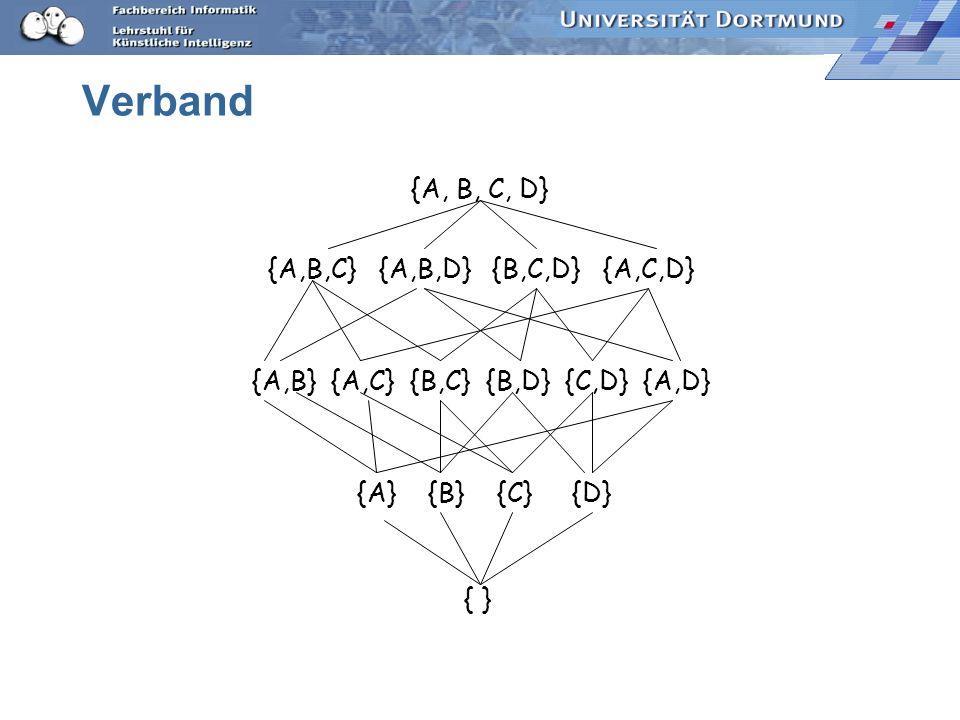 Verband {A, B, C, D} {A,B,C} {A,B,D} {B,C,D} {A,C,D}