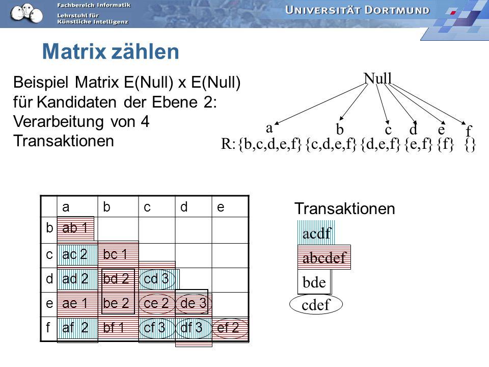 Matrix zählen a b c d e f Null