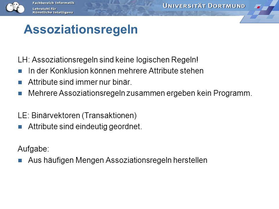 Assoziationsregeln LH: Assoziationsregeln sind keine logischen Regeln!