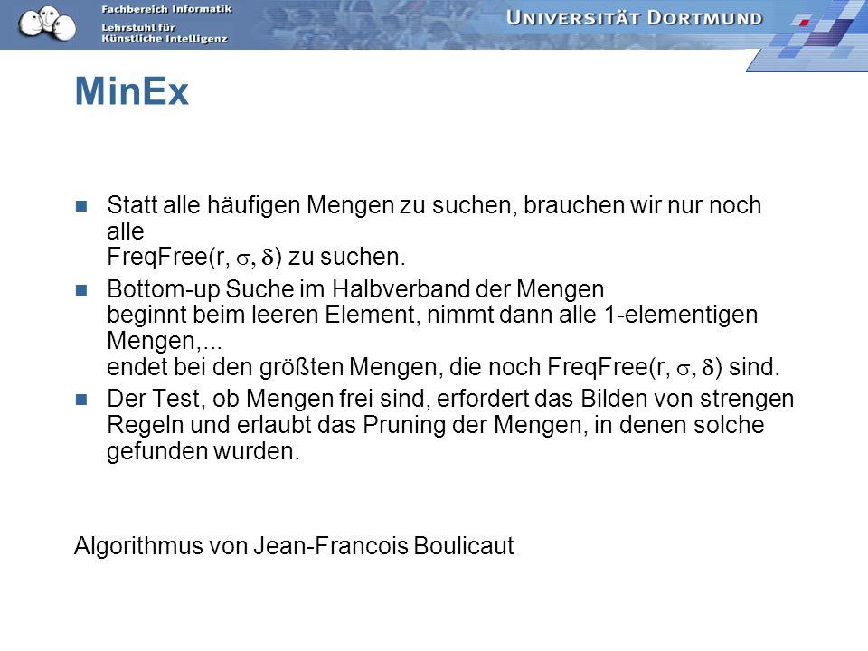MinEx Statt alle häufigen Mengen zu suchen, brauchen wir nur noch alle FreqFree(r, s, ) zu suchen.