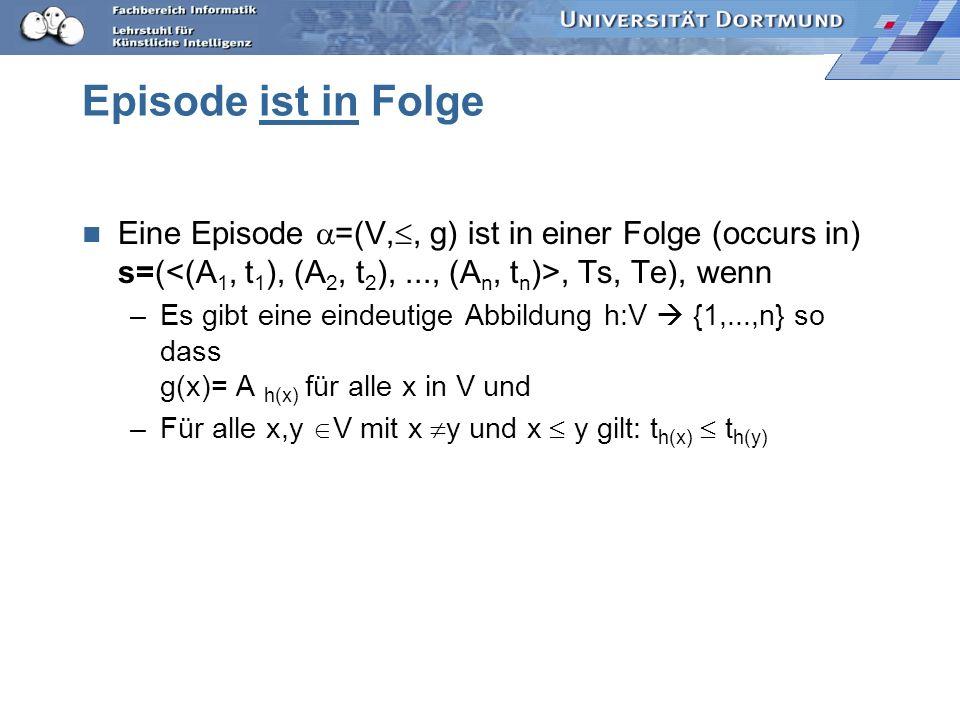 Episode ist in Folge Eine Episode =(V,, g) ist in einer Folge (occurs in) s=(<(A1, t1), (A2, t2), ..., (An, tn)>, Ts, Te), wenn.