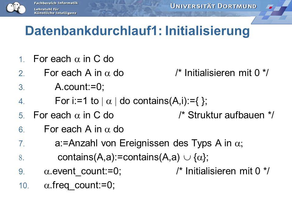 Datenbankdurchlauf1: Initialisierung