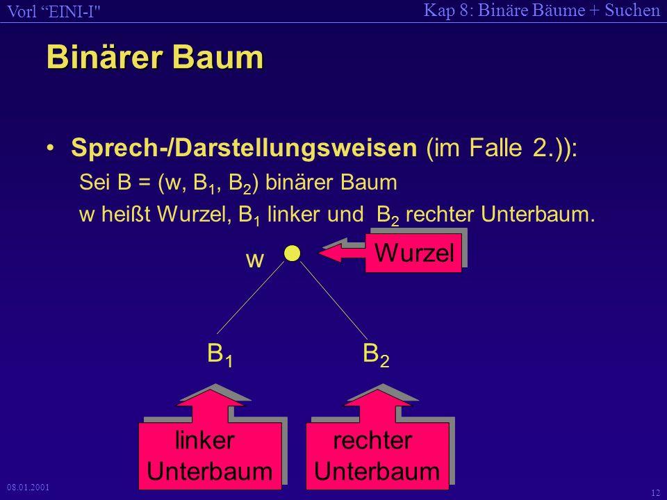 Binärer Baum Sprech-/Darstellungsweisen (im Falle 2.)): Wurzel w B1 B2