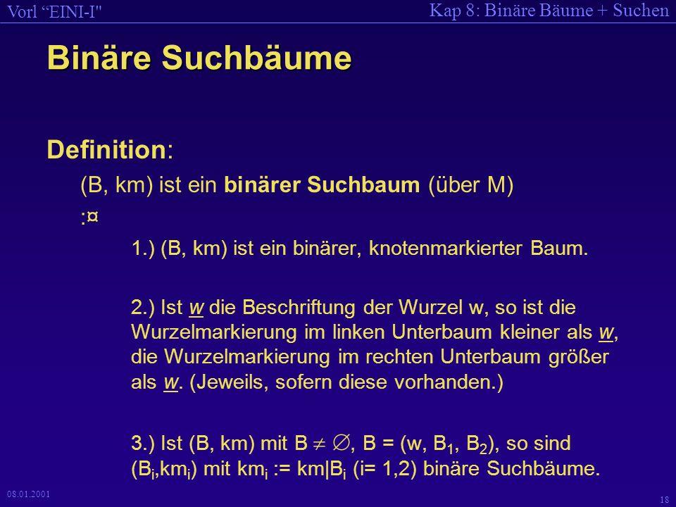 Binäre Suchbäume Definition: (B, km) ist ein binärer Suchbaum (über M)
