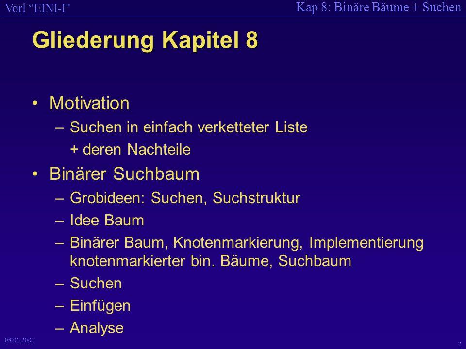 Gliederung Kapitel 8 Motivation Binärer Suchbaum