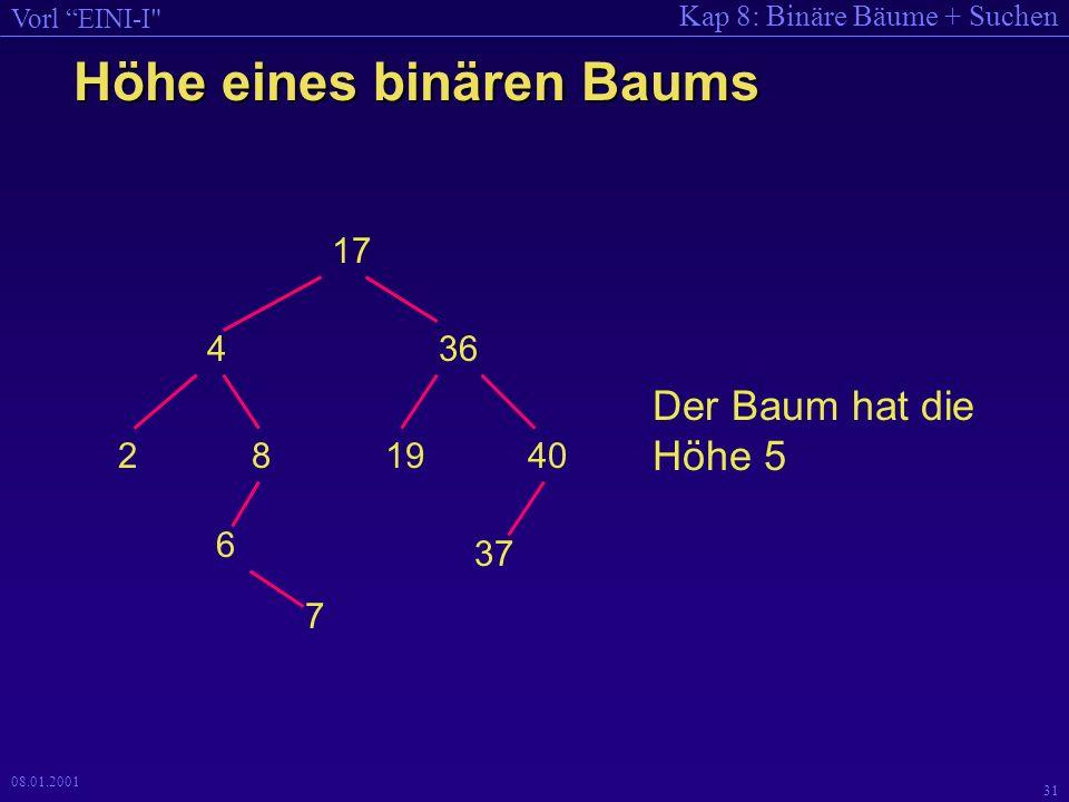 Höhe eines binären Baums