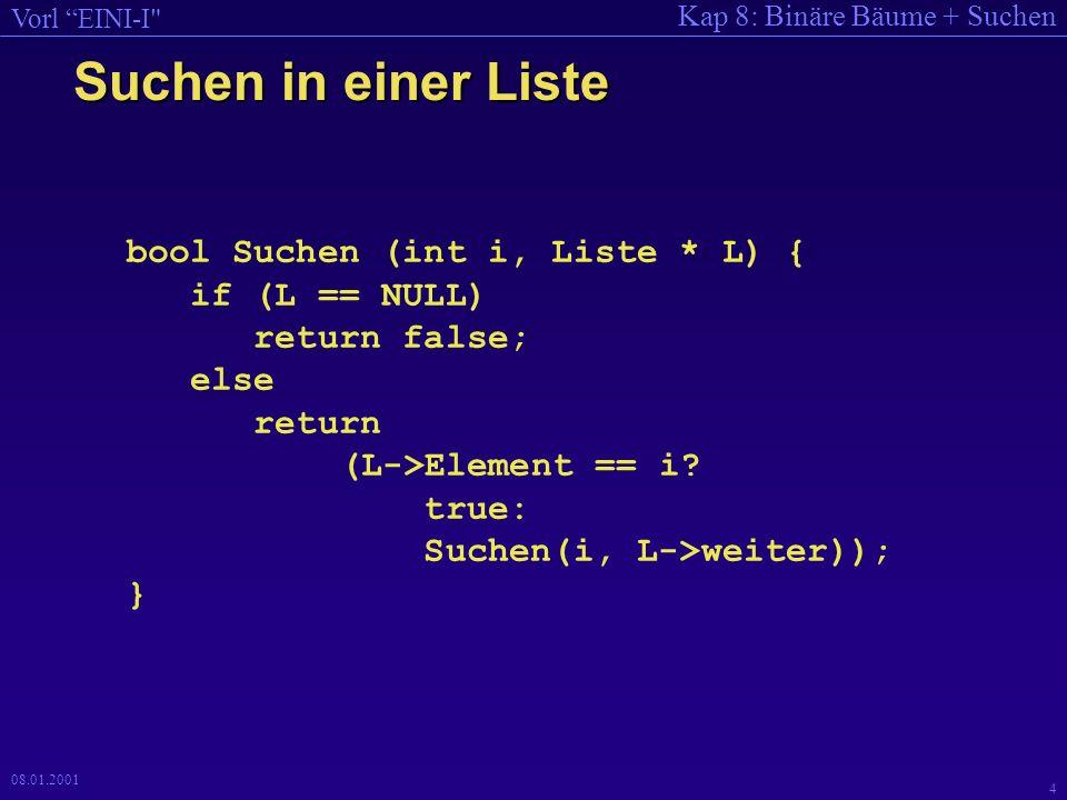 Suchen in einer Liste bool Suchen (int i, Liste * L) { if (L == NULL)