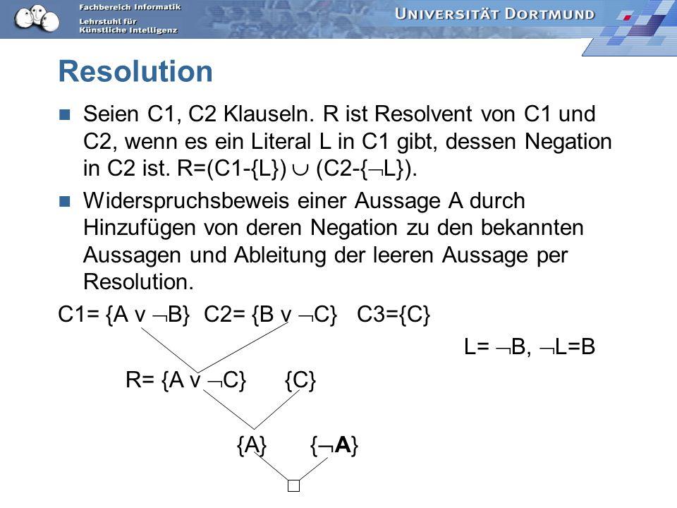 Resolution Seien C1, C2 Klauseln. R ist Resolvent von C1 und C2, wenn es ein Literal L in C1 gibt, dessen Negation in C2 ist. R=(C1-{L})  (C2-{L}).