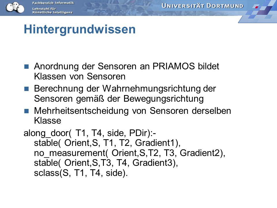 Hintergrundwissen Anordnung der Sensoren an PRIAMOS bildet Klassen von Sensoren.
