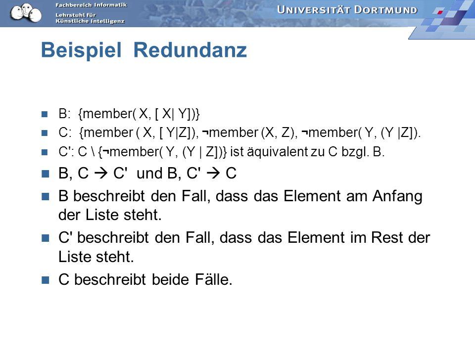 Beispiel Redundanz B, C  C und B, C  C