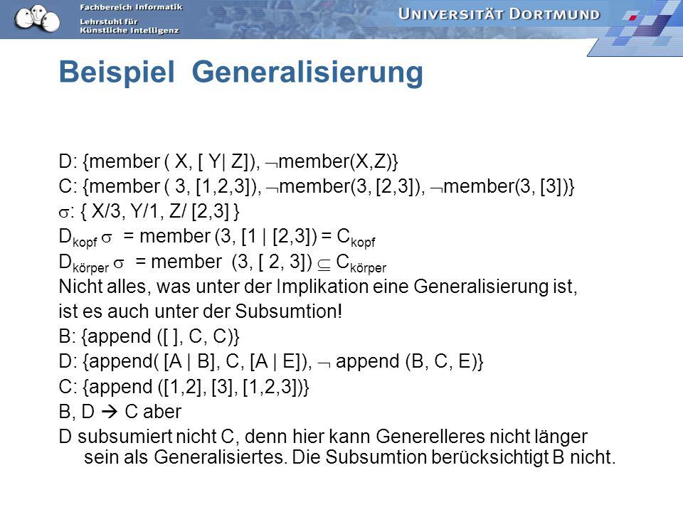 Beispiel Generalisierung