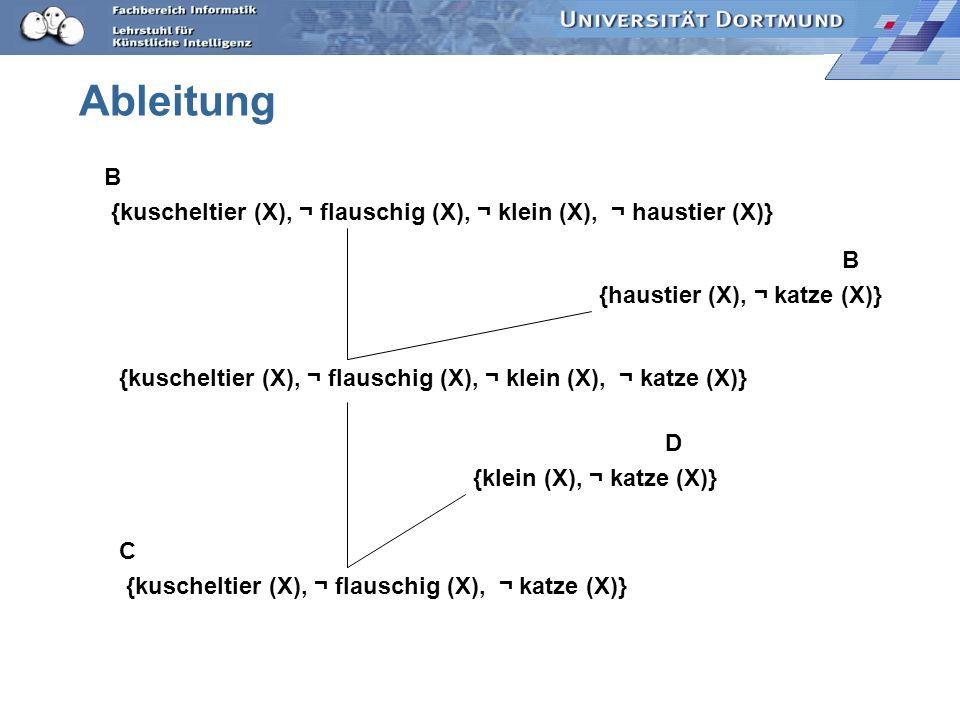 Ableitung B. {kuscheltier (X), ¬ flauschig (X), ¬ klein (X), ¬ haustier (X)} B. {haustier (X), ¬ katze (X)}