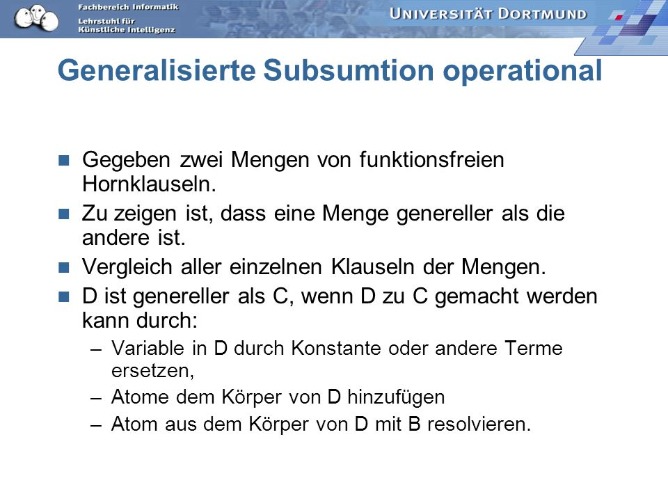 Generalisierte Subsumtion operational