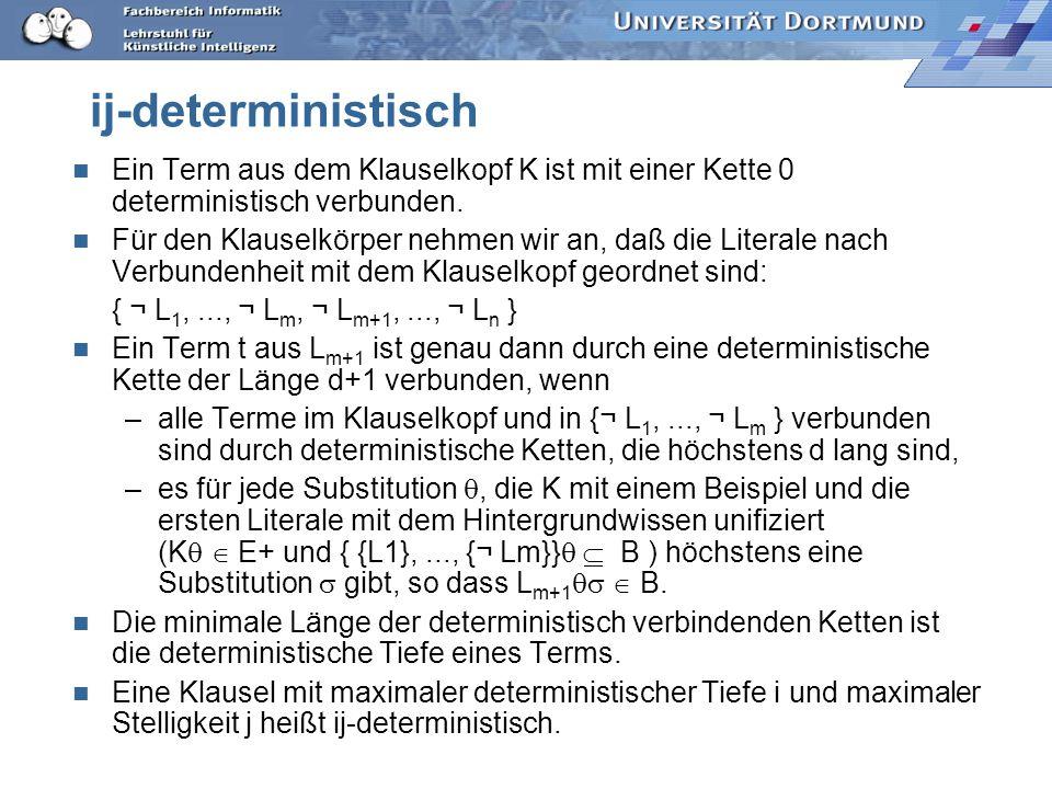 ij-deterministisch Ein Term aus dem Klauselkopf K ist mit einer Kette 0 deterministisch verbunden.