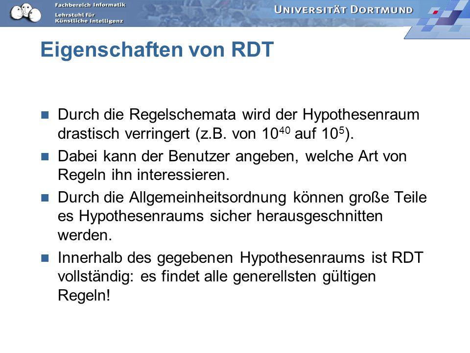 Eigenschaften von RDT Durch die Regelschemata wird der Hypothesenraum drastisch verringert (z.B. von 1040 auf 105).