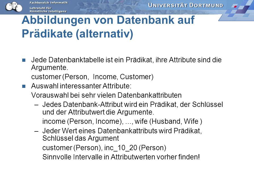 Abbildungen von Datenbank auf Prädikate (alternativ)