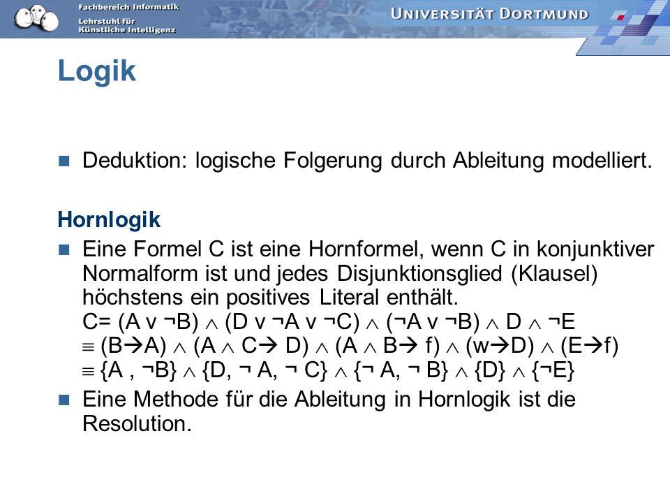 Logik Deduktion: logische Folgerung durch Ableitung modelliert.