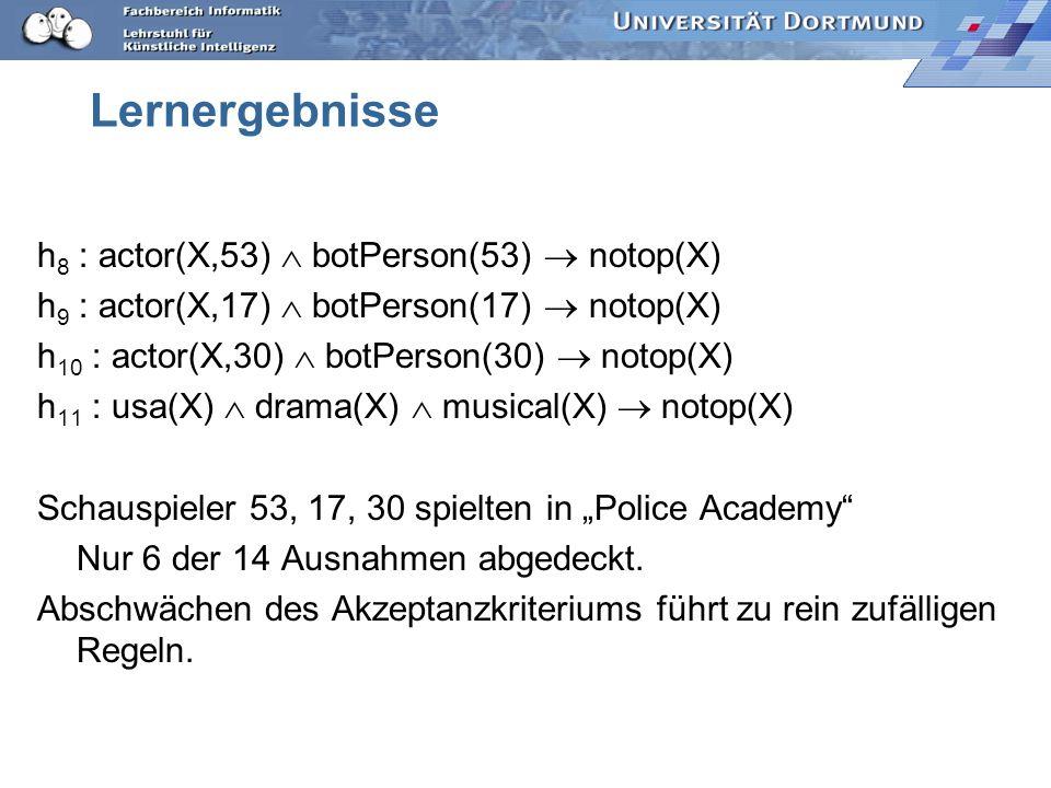 Lernergebnisse h8 : actor(X,53)  botPerson(53)  notop(X)
