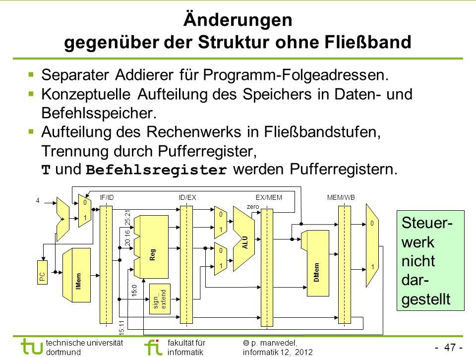 Änderungen gegenüber der Struktur ohne Fließband