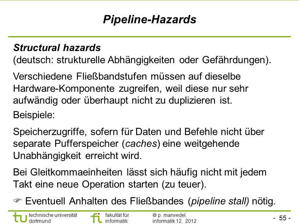 Pipeline-Hazards Structural hazards (deutsch: strukturelle Abhängigkeiten oder Gefährdungen).