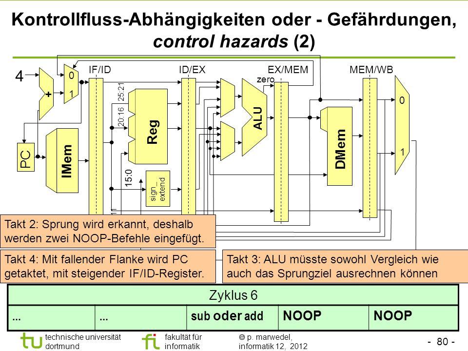 Kontrollfluss-Abhängigkeiten oder - Gefährdungen, control hazards (2)