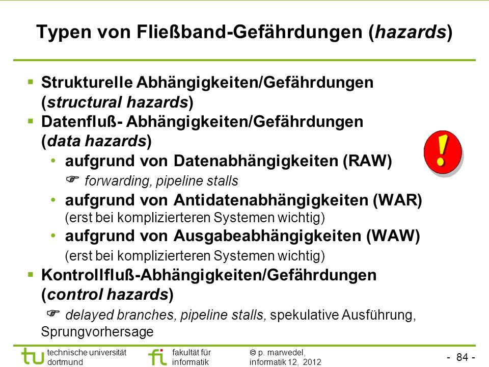 Typen von Fließband-Gefährdungen (hazards)