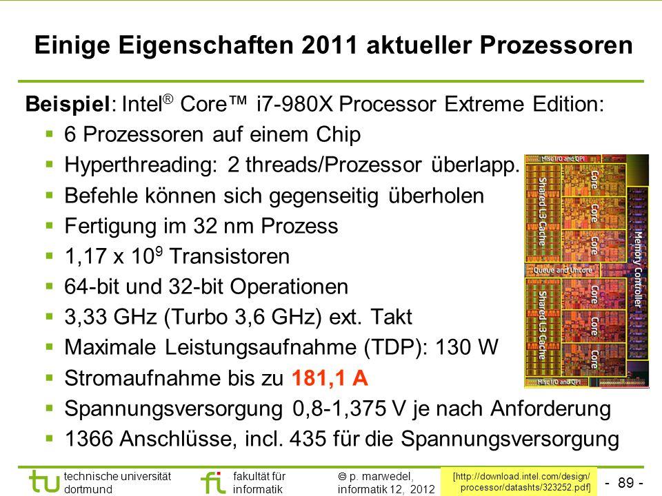 Einige Eigenschaften 2011 aktueller Prozessoren