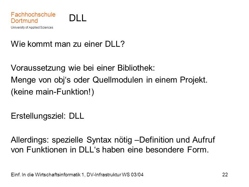 DLL Wie kommt man zu einer DLL